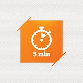 Timer sign icon. 5 minutes stopwatch symbol.