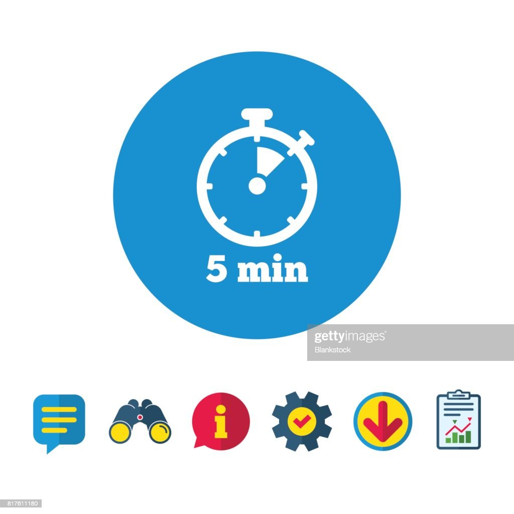 timer sign icon 5 minutes stopwatch symbol vector art getty images