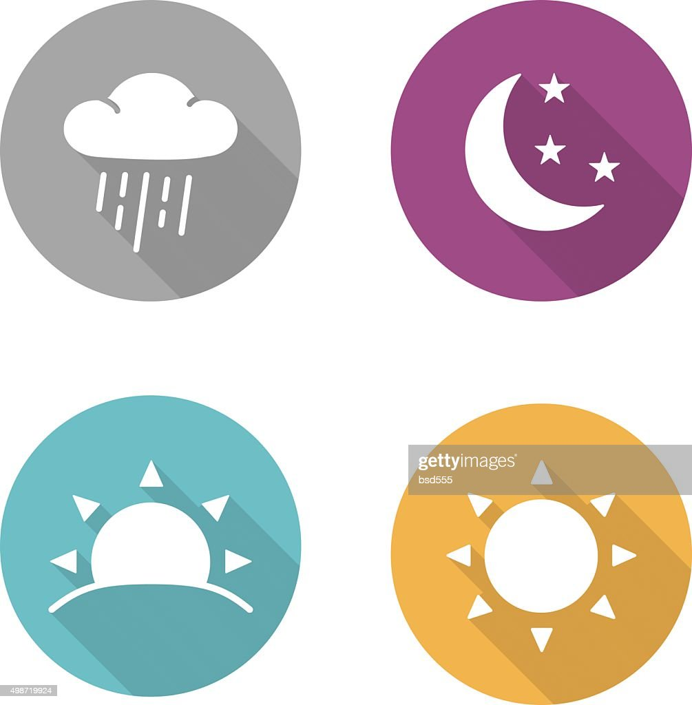 Times of day flat design icons set