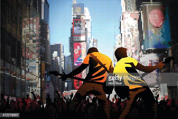 times square rock - guitarist stock illustrations, clip art, cartoons, & icons