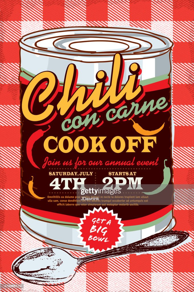 Tin can chili con carne cook off invitation design template