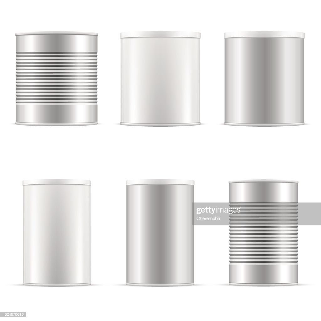 Tin can collection. White containers with plastic cap and metal.