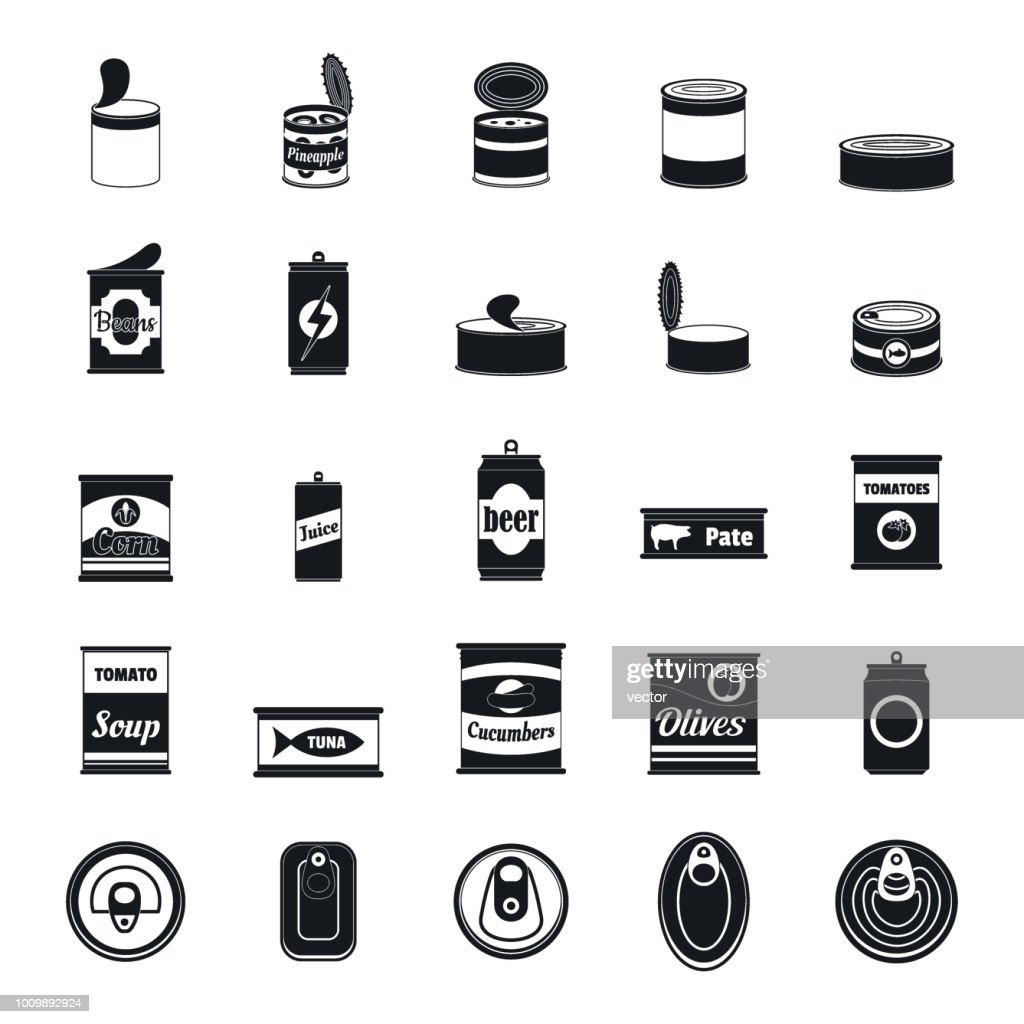 Tin can food package jar icons set, simple style