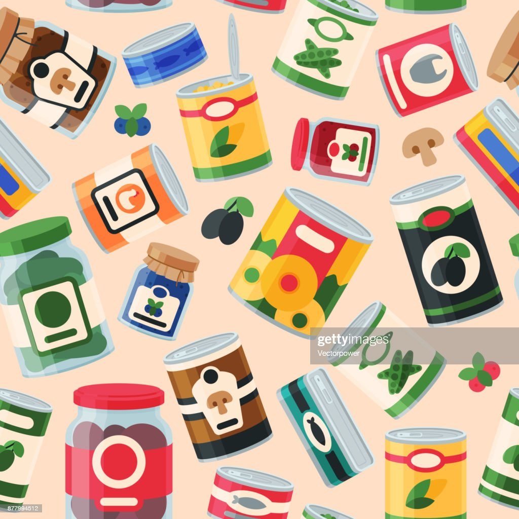 Tins canned food container product seamless pattern vector illustration