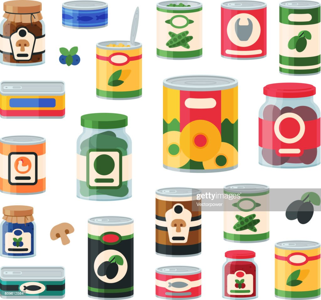 Tins canned goods food container grocery store and product storage aluminum label conserve vector illustration