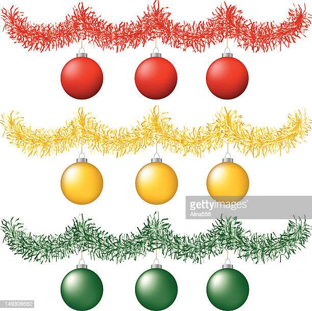 tinsel with christmas balls - tinsel stock illustrations