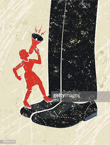 ilustrações, clipart, desenhos animados e ícones de pequeno mulher de negócios, gritando através de megafone para um gigante empresário - crime