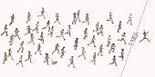 Tiny hand drawn marathon runners