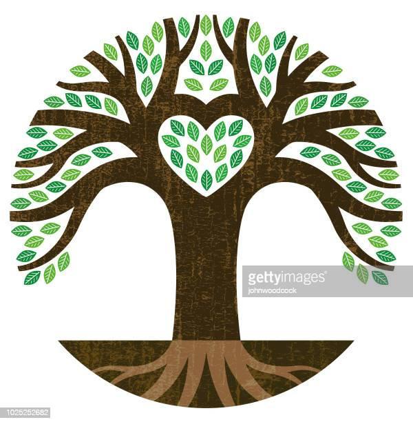 tiny heart tree illustration - ancestry stock illustrations, clip art, cartoons, & icons
