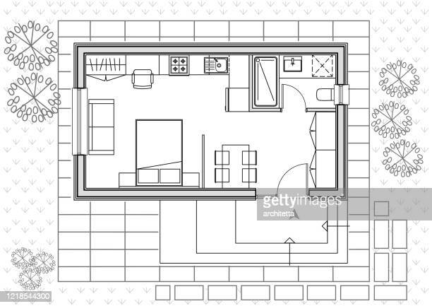 tiny house architectural plan drawing - bed furniture stock illustrations