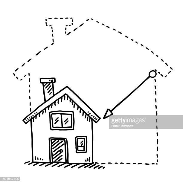tiny house downsizing concept drawing - downsizing unemployment stock illustrations, clip art, cartoons, & icons