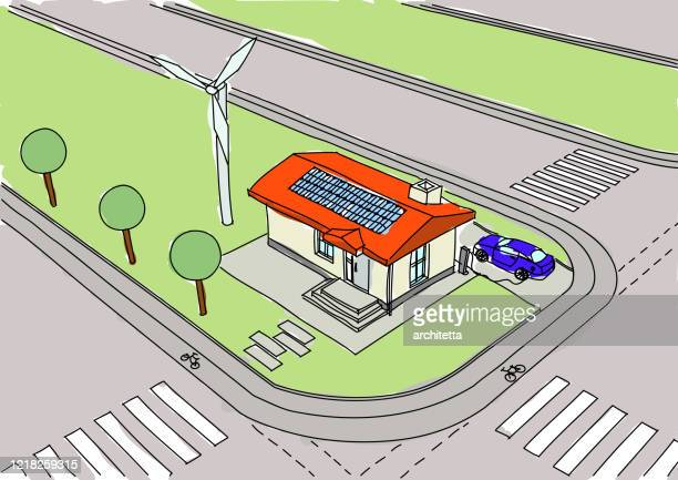 tiny house drawing with sun and wind power - zebra crossing stock illustrations