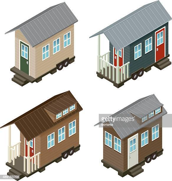 tiny house isometric icon set - downsizing unemployment stock illustrations, clip art, cartoons, & icons