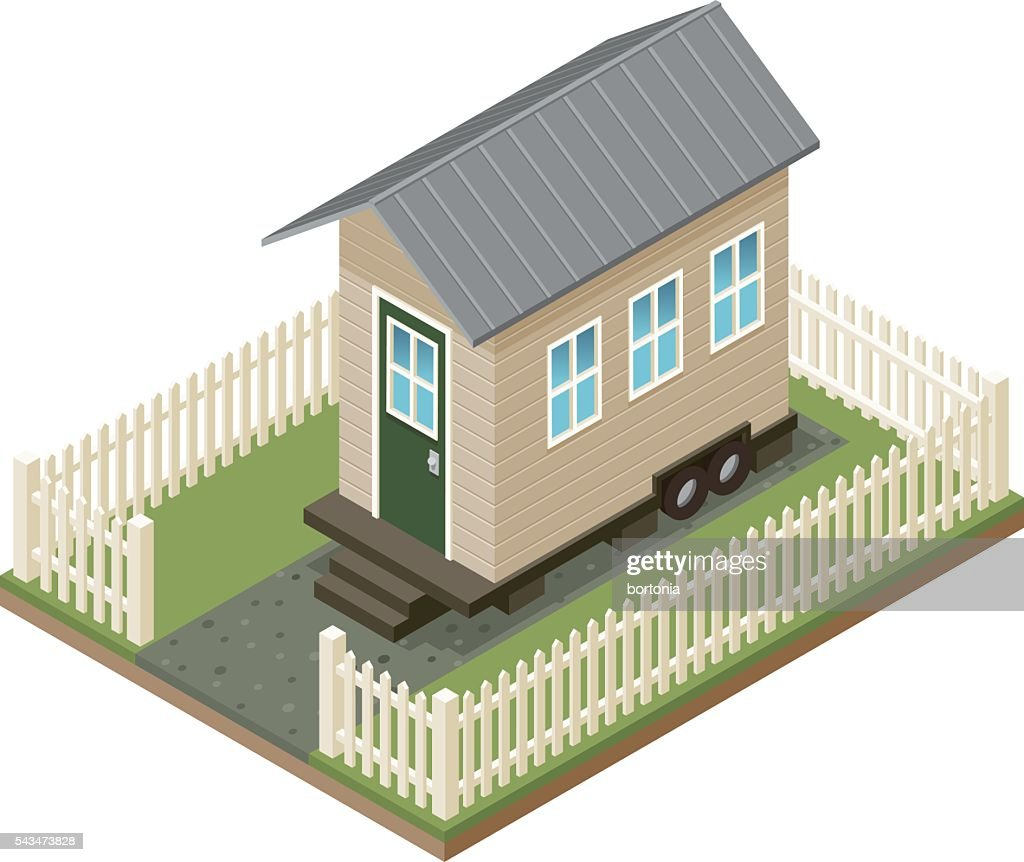 Tiny House Isometric Icon With Yard and Picket Fence : Stock Illustration
