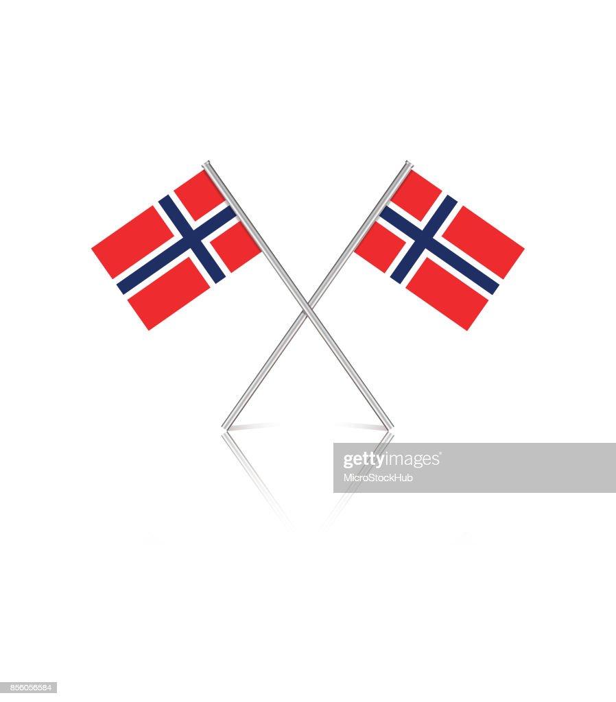 Tiny Norwegian Flags on White Reflective Background