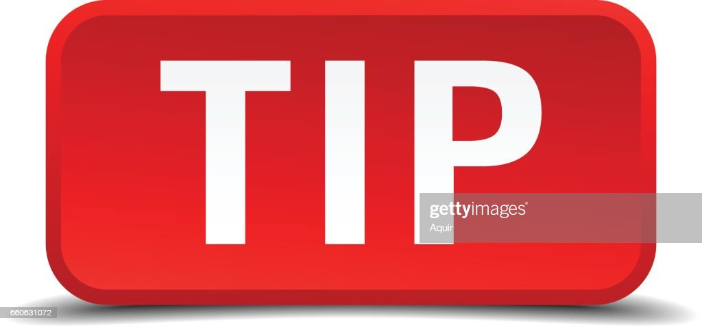 Tip red 3d square button isolated on white
