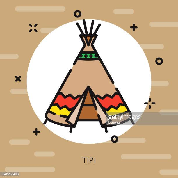 tipi (teepee) open outline canadian icon - camera tripod stock illustrations, clip art, cartoons, & icons