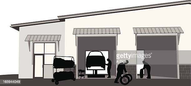 tire change vector silhouette - auto repair shop exterior stock illustrations