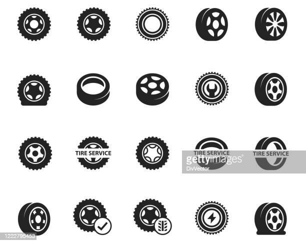 タイヤアイコンセット - タイヤ点のイラスト素材/クリップアート素材/マンガ素材/アイコン素材