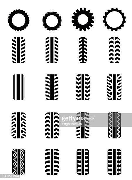 tire icon set - tire vehicle part stock illustrations, clip art, cartoons, & icons