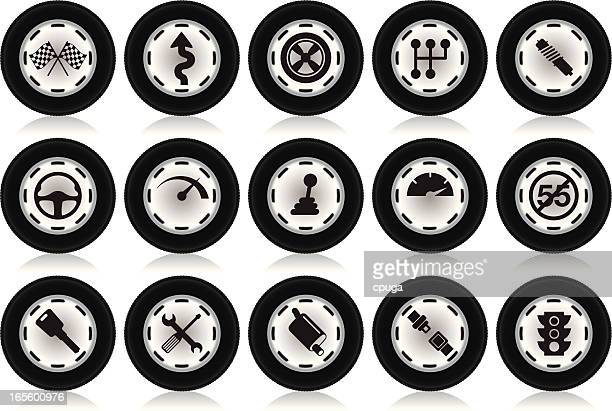 tire shaped automotive icons - gearshift stock illustrations, clip art, cartoons, & icons