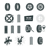 Tire shop concept. Black tire icons set. Service, diagnostics, replacement