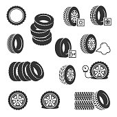 Tire shop, tyres change auto service vector icons set