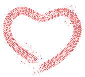 Tire tracks heart. Motorist love, hearts tire track and motor car enthusiast valentines card grunge vector illustration