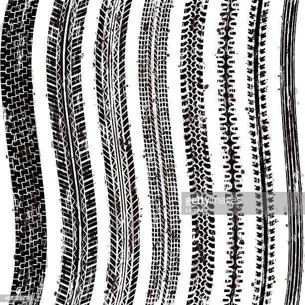 tire tracks (seamless) - tire marks stock illustrations, clip art, cartoons, & icons
