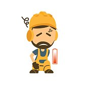 Tired and Exhausted Construction worker.