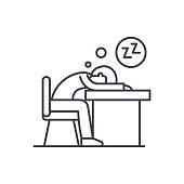 Tired at work line icon concept. Tired at work vector linear illustration, symbol, sign