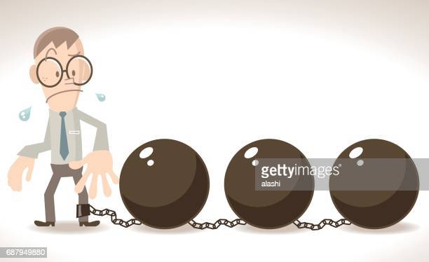 Tired businessman (man, prisoner) is locked in three big iron ball and chain