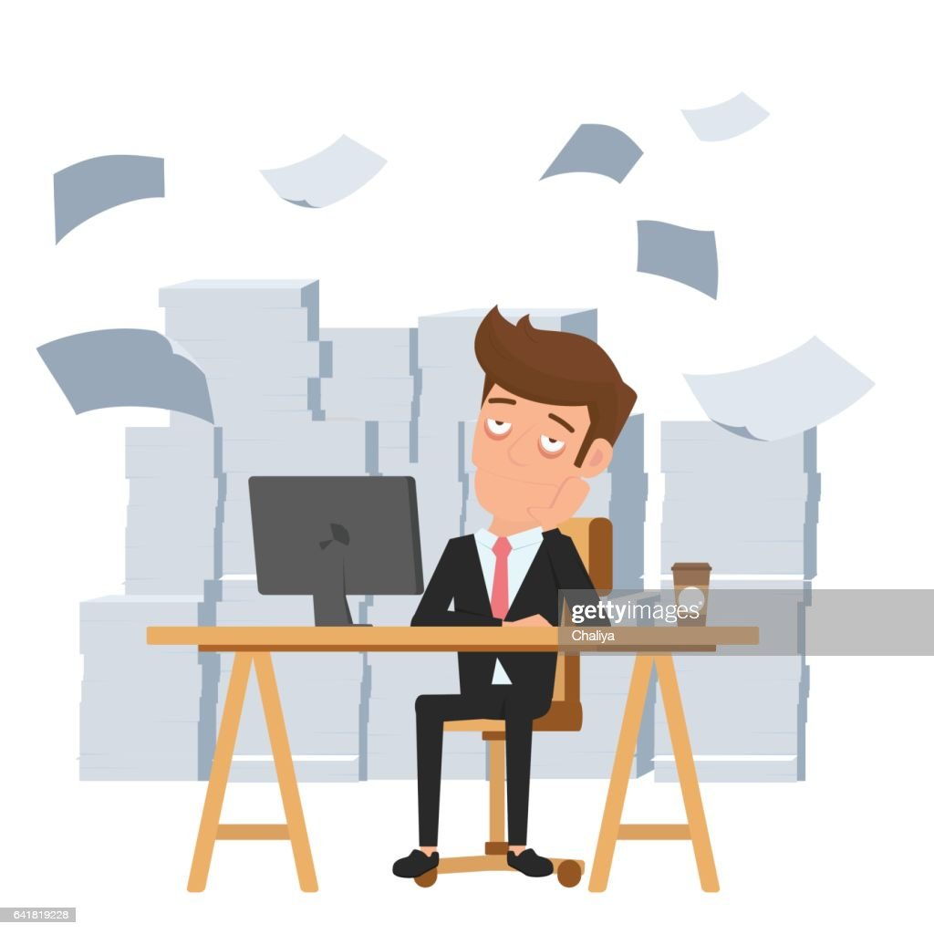 Tired businessman sitting at office desk and pile of paper work. Tired employee and want to help. Deadline concept.