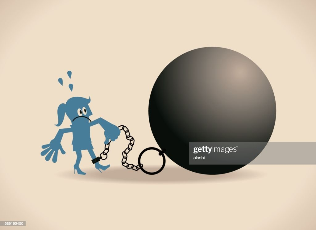 Tired businesswoman (woman, girl, prisoner) is locked in a big iron ball and chain : Stock Illustration