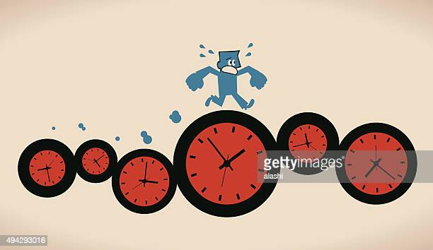 Tired busy businessman running on group of time clocks