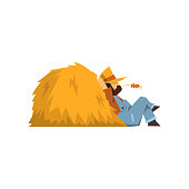 Tired farmer resting sitting by the haystack vector Illustration on a white background