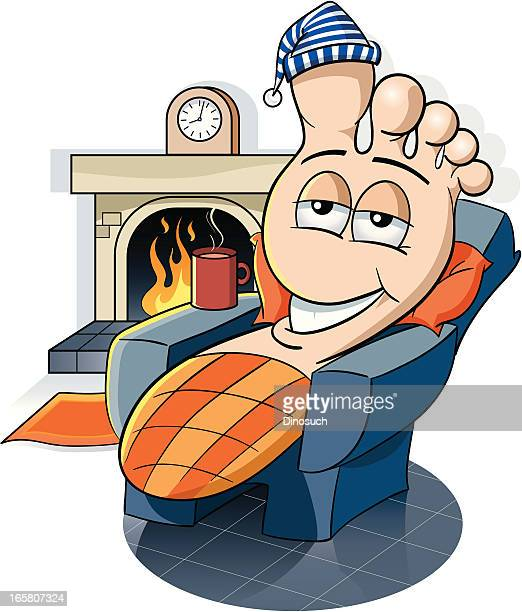 tired foot resting by the fire - toe stock illustrations, clip art, cartoons, & icons