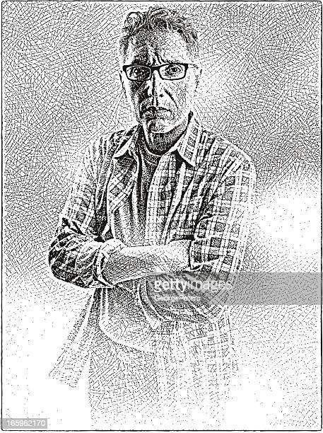 tired man - horn rimmed glasses stock illustrations, clip art, cartoons, & icons