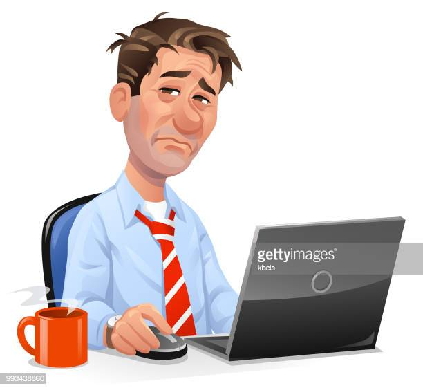 Tired Man Working At Laptop