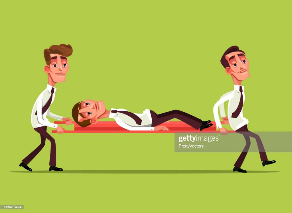 Tired sad businessman office worker character lies on stretcher and colleague carry him. Teamwork help overworked hard work concept. Vector flat cartoon graphic design isolated illustration