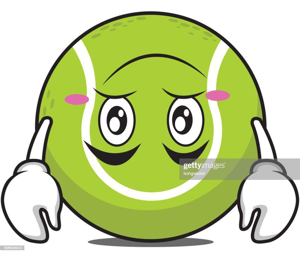 Tired tennis ball cartoon character vector illustration