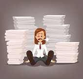 Tired unhappy office worker woman character sitting among paper documents