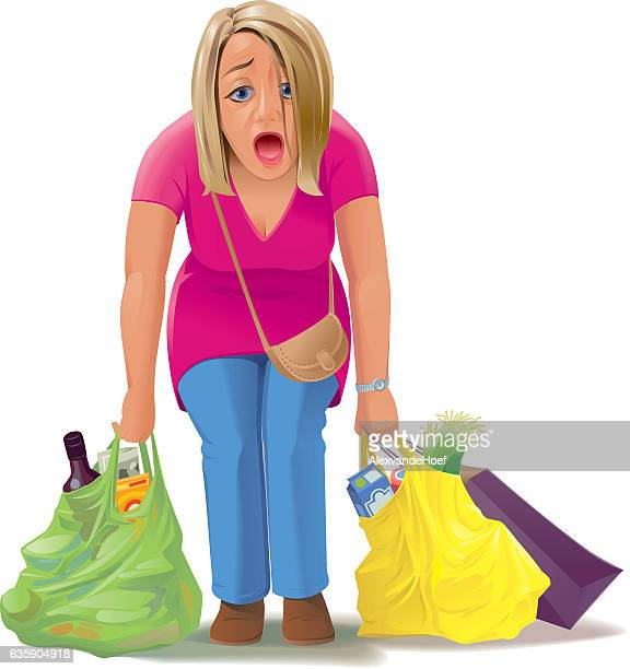 Tired Woman With Shopping Bags
