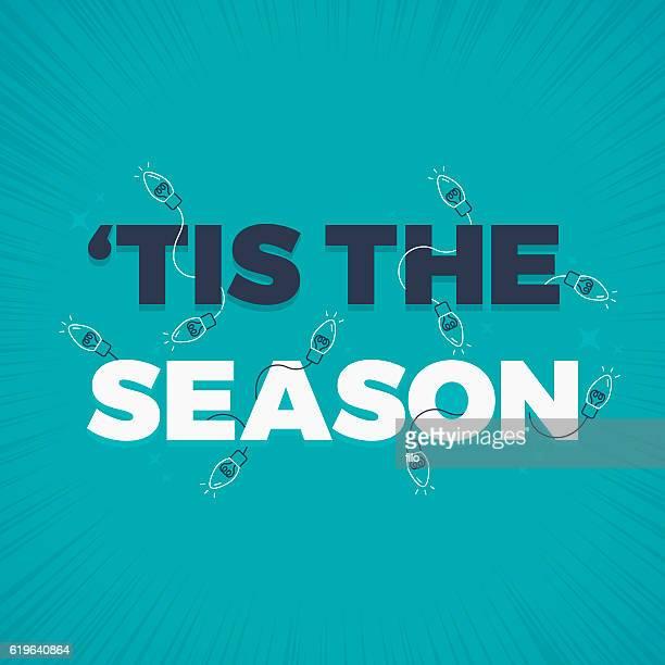 tis the season holiday lights decoration - season stock illustrations