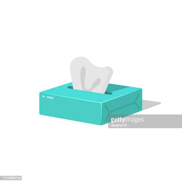 tissue, paper napkins and wet wipes box icon flat design. - sneezing stock illustrations