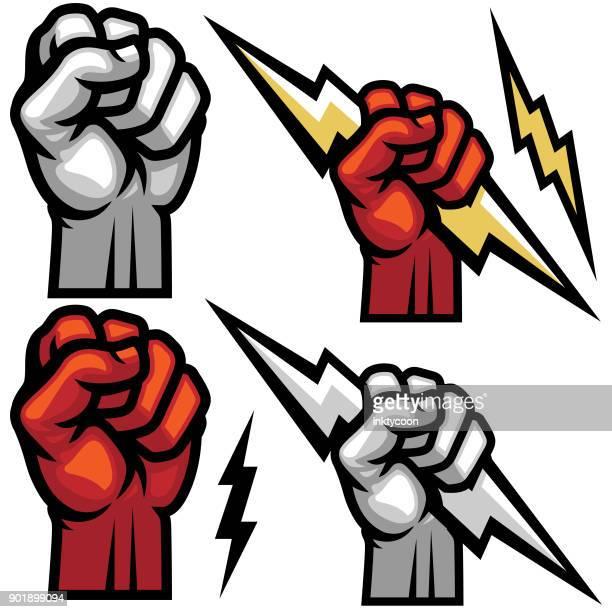 titan lightning hand fist - fist stock illustrations