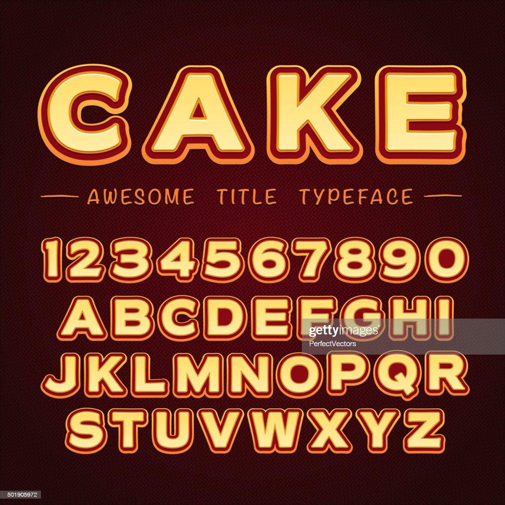 3D Title Font in Cartoon style. Vector Alphabet