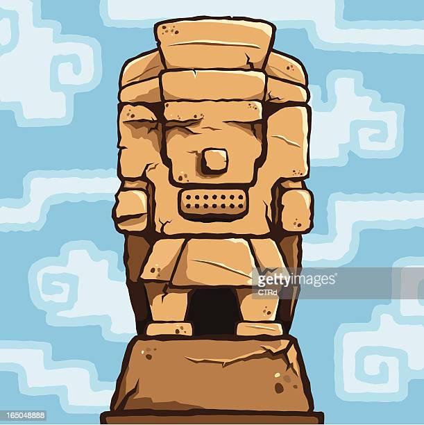 ilustrações, clipart, desenhos animados e ícones de escultura tlaloc - asteca
