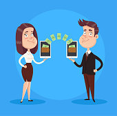 To business people making transaction between device smartphone. Business online payment concept