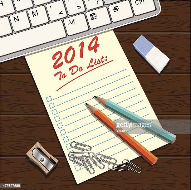 to do list 2014 - desk organizer stock illustrations, clip art, cartoons, & icons